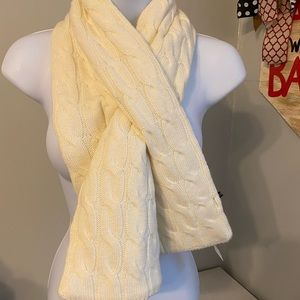 Talbots cables pull through scarf ivory NWT